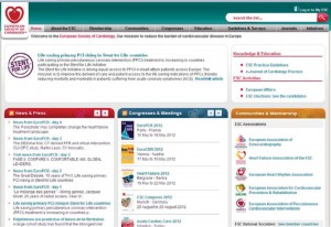 Figure 1. ESC website landing page. The search engine box is located on the top right hand side of the screen (arrow).