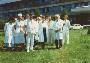 Figure 3. 1991 - in the first line, from right to left: Prof. C. Carp, Prof. Patricia Come (Harvard, SUA), Conf. E. Apetrei and a group of students. In the back line: Dr. Carmen Ginghina.
